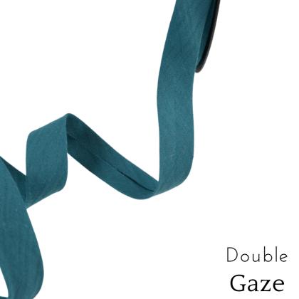Biais double gaze replié 20 mm Paon - oeko tex