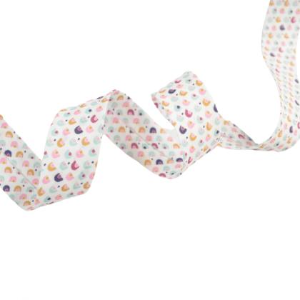 Tissu Biais replié 20 mm coton motifs arc en ciel rose