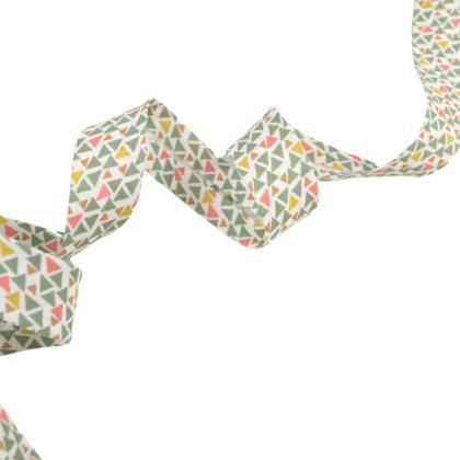 Tissu Biais replié 20 mm coton motifs triangles kaki