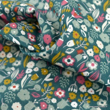 Tissu Axea en coton Bio motifs fleurs fond col vert - Gots & oeko tex