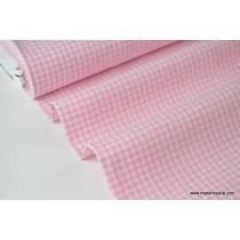 Tissu vichy petits carreaux 100%coton rose et blanc .x1m