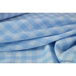 Tissu Popeline coton vichy grands carreaux coloris bleu ciel