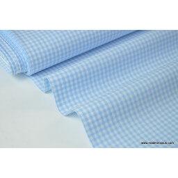 Tissu Popeline coton vichy petits carreaux coloris bleu ciel