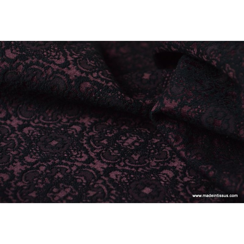 tissu jacquard dessin baroque noir et prune bordeaux x1m. Black Bedroom Furniture Sets. Home Design Ideas