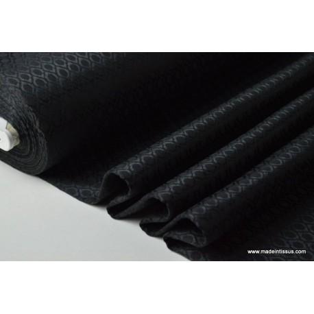 Tissu jacquard dessin noir ton sur ton x50cm
