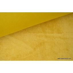 Tissu sweat envers minky coloris moutarde