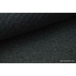 Tissu Jersey coton matelassé 1x1 coloris Anthracite