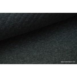Jersey coton matelassé 1x1, une face athracite une face gris claire x50cm