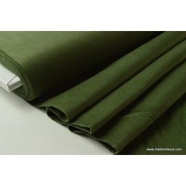Tissu velours ras coton kaki pour confection pantalon x50cm
