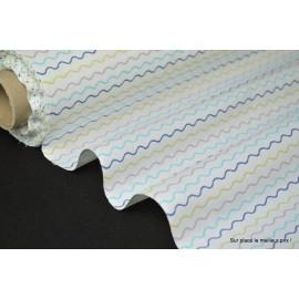 Tissu 100% coton dessin ondul turquoise et anis 160cm 110gr/m²