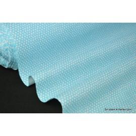 Tissu 100% coton dessin squama turquoise et anis 160cm 110gr/m²
