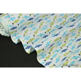 Tissu 100% coton dessin truite turquoise et anis 160cm 110gr/m²
