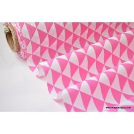 Tissu coton imprimé dessin losanges fuchsia .x1m