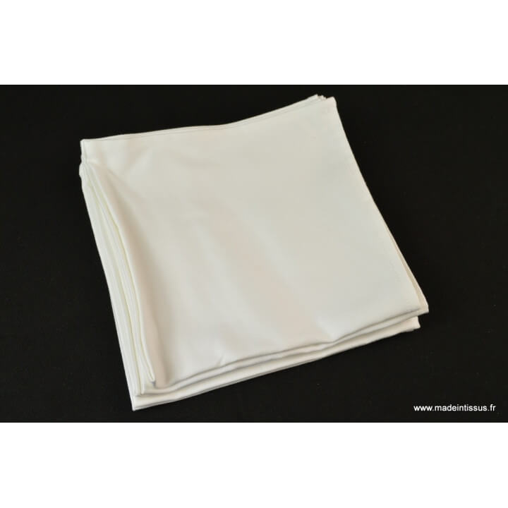 SERVIETTES DE TABLE 40X40 100% satin coton Blanc MADE IN FRANCE