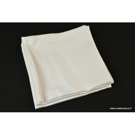 SERVIETTES DE TABLE 40X40 100% satin coton Blanc MADE IN FRANCE