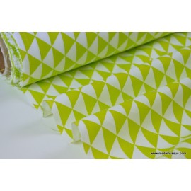 Tissu coton imprimé dessin losanges anis