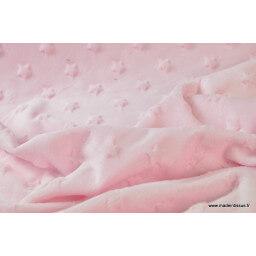 Tissu minky rose  étoiles x50cm