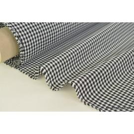 Tissu vichy polyester coton noir et blanc