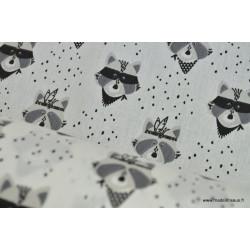 Popeline coton imprimé raton noir et blanc .x1m