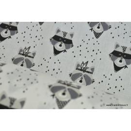 Popeline coton imprimé raton noir et blanc x50cm