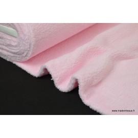 Tissu doudou double face rose x50cm