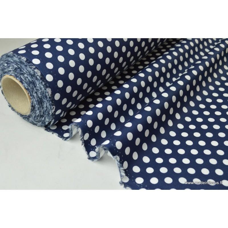 tissu imperm able tanche imprim pois blanc marine. Black Bedroom Furniture Sets. Home Design Ideas