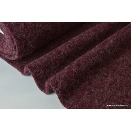 Lainage boucle rouge prune laine et alpaga x50cm