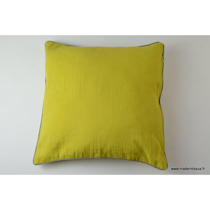 housse pour coussin 40x40 polyester lin coloris fenouil. Black Bedroom Furniture Sets. Home Design Ideas
