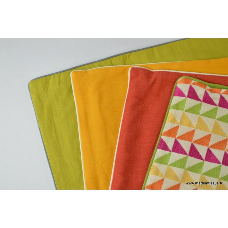 Housse pour coussin 40x40 polyester lin coloris fenouil - Housse de coussin 40x40 ...