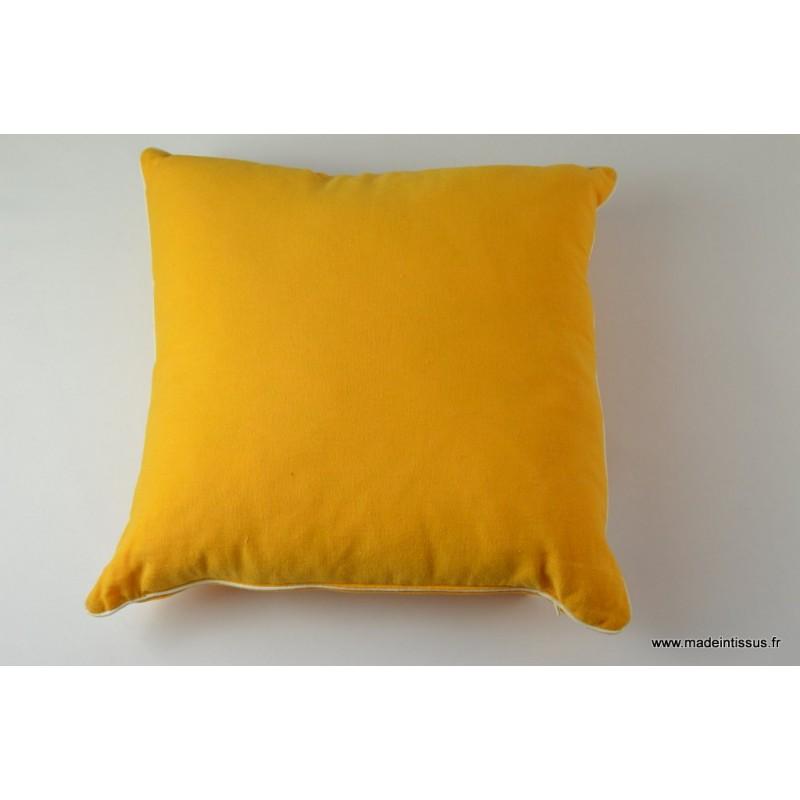 Housse pour coussin 40x40 polyester lin coloris safran for Housse de coussin 40x40