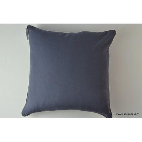 Housse pour coussin 40x40 polyester lin coloris bleu for Housse coussin bleu