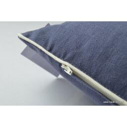 Housse de coussin lin lavé 40x40 bleu