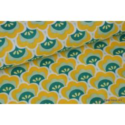 Tissu popeline coton imprimé lotus jaune vert .x1m