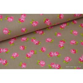 Popeline coton imprimé rose fond beige .x1m