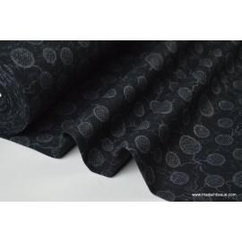 Jersey viscose rond argenté fond noir x50cm