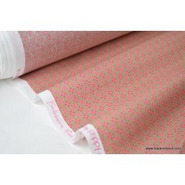 Tissu coton imperméable étanche dessin fleurs étoiles x50cm