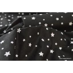 Tissu coton oeko tex imprimé étoiles NOIR