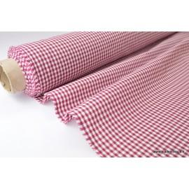 Tissu vichy polyester coton bordeaux et blanc
