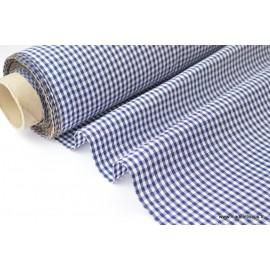 Tissu vichy polyester coton marine et blanc x50cm