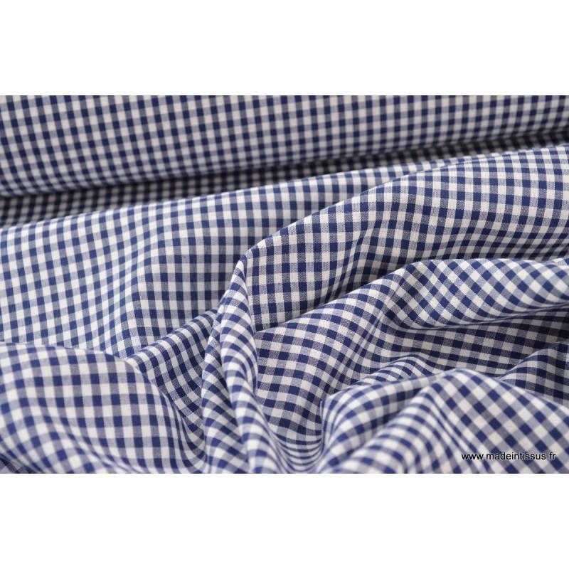 tissu vichy bleu marine et blanc en polyester coton. Black Bedroom Furniture Sets. Home Design Ideas