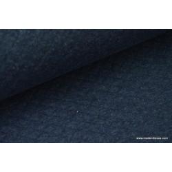 Tissu Jersey coton matelassé 1x1 marine pour confection habillement .x1m