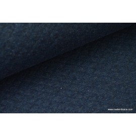 Jersey coton matelassé 1x1 marine pour confection habillement x50cm