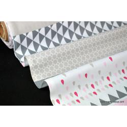 coupon de Tissu coton imprimé dessin rayures géométriques .75x150