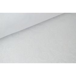 Tissu Jacquard dessin cachemire blanc .x 1m