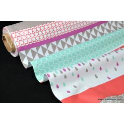 Tissu popeline coton imprimé dessin rayures géométriques .x1m