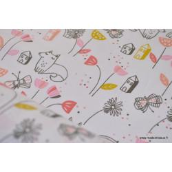 Tissu coton imprimé maisons, fleurs et chiens .x1m