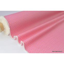 Tissu imperméable étanche imprimé mango rose .