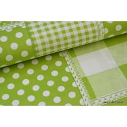 Popeline coton imprimé patchwork anis .x1m