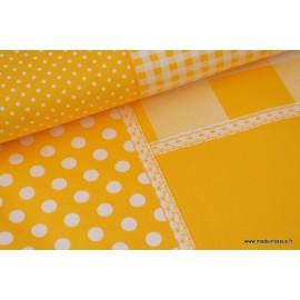 Popeline coton imprimé patchwork jaune .x1m