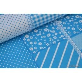 Tissu Popeline coton imprimé patchwork turquoise .x1m